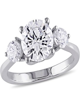 4-1/3 Carat T.G.W. CZ Sterling Silver Three-Stone Engagement Ring