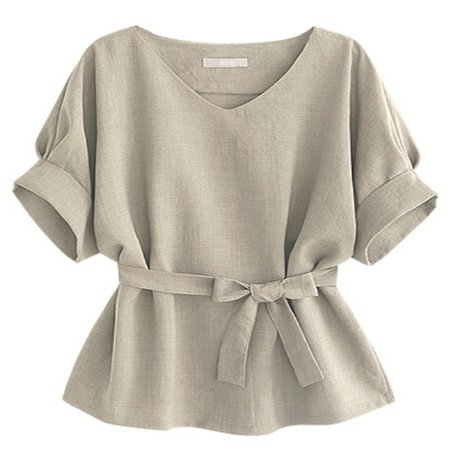 Tan Short Sleeve Top (OUMY Plus Size Women Batwing Short Sleeve Blouse Tops )