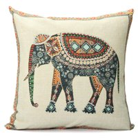 """Elephant Pillow Case Indian Knitted Elephant Cotton Linen Throw Cushion Cover Decor 16.5""""x16.5"""""""