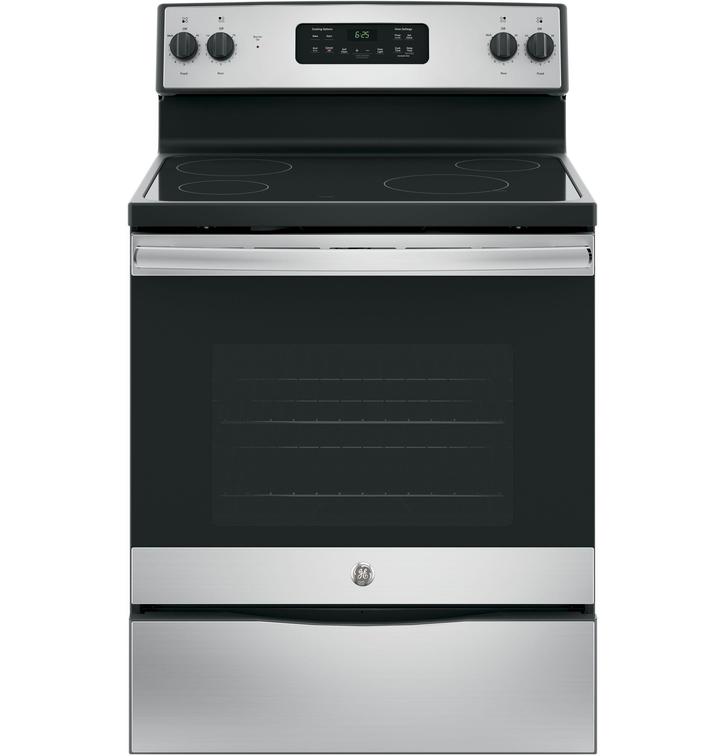 GE Appliances JB625RKSS, Glass Cooktop, Stainless Steel