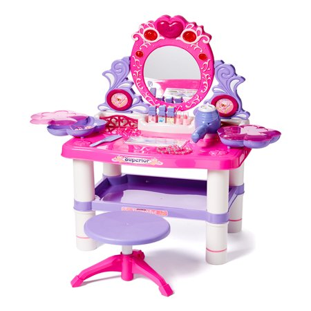 Princess Vanity Girl's Children's Pretend Play Dressing Table Battery Operated Toy Beauty Mirror Vanity Playset w/ Accessories