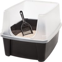 IRIS Open-Top Cat Litter Box with Shield and Scoop, Black