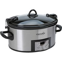 Crock-Pot 6 Qt. Programmable Cook & Carry Slow Cooker with Digital Timer, Stainless Steel