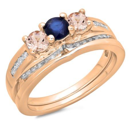 14K Rose Gold Blue Sapphire,Morganite & White Diamond Ladies Bridal 3 Stone Ring