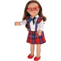 """My life as 18"""" poseable school girl doll, brunette hair with a soft torso"""