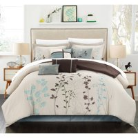 12-Piece Luxury Comforter Set in Beige Floral, King