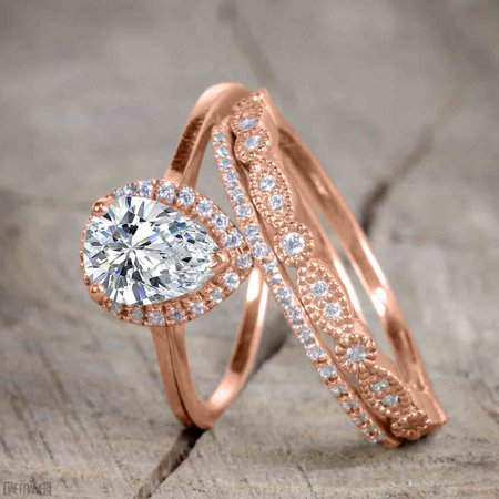 Bestselling 2.50 Carat Pear cut Trio Wedding Ring Set with Moissanite and Diamond on Rose Gold for -