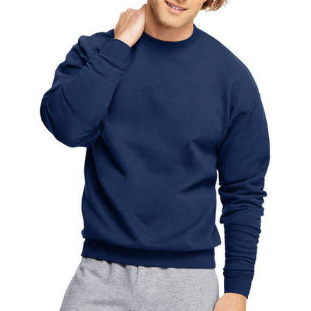 Big Men's Ecosmart Medium Weight Fleece Crew Neck Sweatshirt Black Classic College Crew Fleece