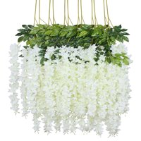 12 Piece 3.6' Artificial Silk, Wisteria Vine Ratta Hanging Flower Garland String for Home Party Wedding Decor,