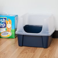 IRIS Open-Top Cat Litter Box With Shield, Regular, Navy