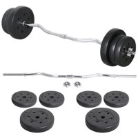 55lb Olympic Barbell Dumbbell Weight Set Gym Lifting Exercise Workout Olympic Bar Curl Bar