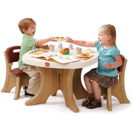 Step2 New Traditions Kids Table and 2 Chairs Set, Brown