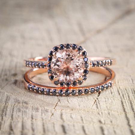 Black Diamond Gold Wedding Rings - 1.50 Carat Peach Pink Morganite (Round cut) and Black Diamond Engagement Bridal Wedding Ring Set in 10k Rose Gold