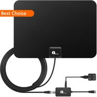 1byone TV Antenna 50 Miles Amplified HDTV Antenna with Signal Booster and10ft Cable for the Highest Performance - Black