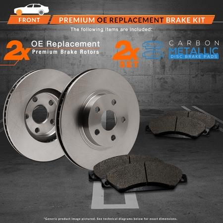 Max Brakes Front Premium Brake Kit [ OE Series Rotors + Metallic Pads ] TA115441 | Fits: 2013 13 Honda Civic LX Models w/Manual Transmission and HF Models - image 4 de 8