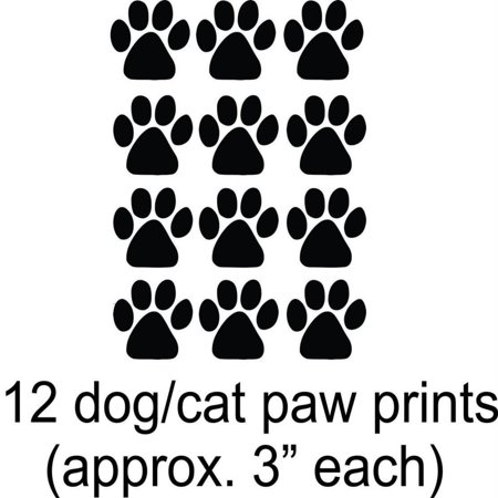 Paw Print Decals (Custom Wall Decal Cat - Dog - 12 Animal Paw Prints - - Vinyl Wall Sticker 15X12)