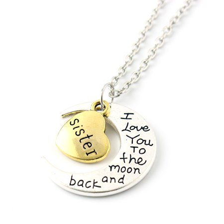 Fashion Jewelry I Love You Family Mom Birthday Gift Pendant Necklace for Women Girl - Sister - Flower Girl Necklace