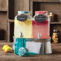 The Pioneer Woman Simple Homemade Goodness Drink Dispenser Set with Ice Bucket, Chalk Boards and Chalk Pencil