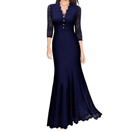 Women Lace V Neck Fishtail Prom Long Maxi Dress Retro Evening Party Formal Ball Gown Wedding Bridesmaid Vintage Dresses ()