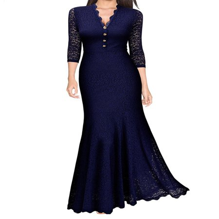 Women Lace V Neck Fishtail Prom Long Maxi Dress Retro Evening Party Formal Ball Gown Wedding Bridesmaid Vintage (Aidan Mattox Deep V Neck Ball Gown)