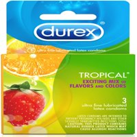 Durex Tropical Flavors Flavored Premium Condoms, 3 ct