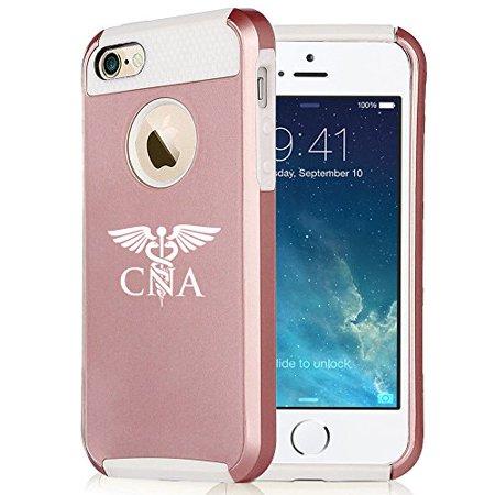 For Apple iPhone SE Rose Gold Shockproof Impact Hard Soft Case Cover CNA Nursing Assistant (Rose Gold-White)
