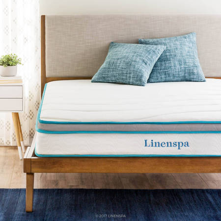 "- Linenspa Spring and Memory Foam Hybrid Mattress, 8"", Multiple Sizes"