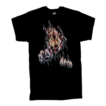 Wolf T-Shirt Rip Out Shred Wolves Tee - Ripped T Shirt Blood Halloween