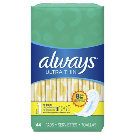 ALWAYS Ultra Thin Size 1 Regular Pads Without Wings Unscented, 44 Count (1 Thin)