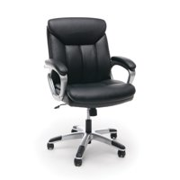 Essentials by OFM ESS-6020 Executive Leather Swivel Office Chair, Black with Silver Frame