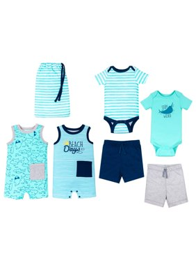 100% Organic Cotton Star-Pack Mix 'n Match Outfits, 6pc Gift Bag Set (Baby Boys)
