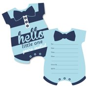 Hello Little One Blue And Navy Shaped Fill In Invitations Boy Baby