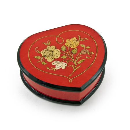 Elegant Cherry Red Heart Shaped Music Jewelry Box with Floral in Heart Frame Inlay Design - Danny Boy - Heart Style Music Box