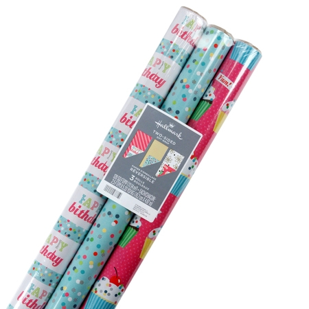Hallmark Reversible Feminine Celebrate Tri Pack Roll Wrap