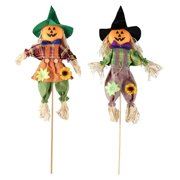 Fall Harvest Scarecrow Decor, 2 Pack Pumpkin Halloween Decorations 23.6 Inch Medium Scarecrow Halloween Decoration for Garden, Home, Yard, Porch, Thanksgiving Decor