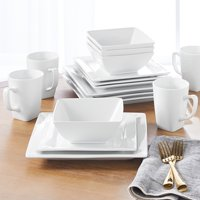 Better Homes & Gardens 16-Piece Savion Square Porcelain Dinnerware Set, White