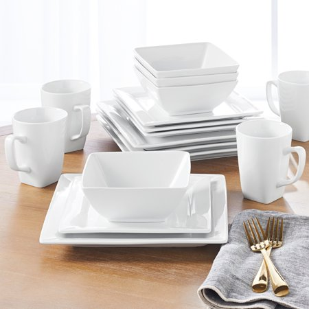 Better Homes & Gardens 16 Piece Square Dinnerware Set, White - Patriotic Dinnerware