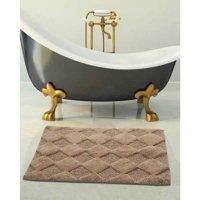 Saffron Fabs Bath Rug 2-Piece Set, Solid Color Diamond Pattern, Assorted Colors and Sizes