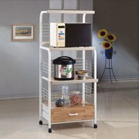 Microwave Kitchen Cart with Casters, White