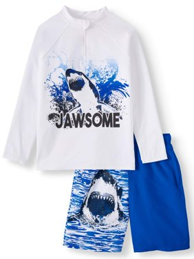 Long Sleeve Rash Guard & Swim Trunk, 2-Piece Set (Little Boys, Big Boys, & Husky)