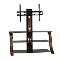 """Sauder Veer Panel TV Stand with Mount for TVs up to 50"""", Black Finish"""