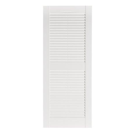 Premier One-Piece #001 White Louver Decorative Exterior Shutters, 15