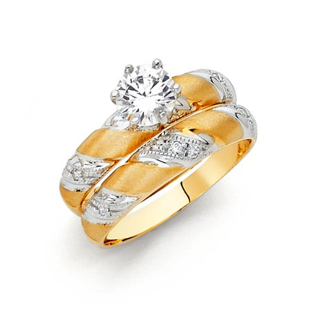 FB Jewels 14K White and Yellow Gold Two Tone Round Cubic Zirconia CZ Wedding Band and Engagement Bridal Ring Two Piece Set Size 5.5](Jewel Tone Wedding)