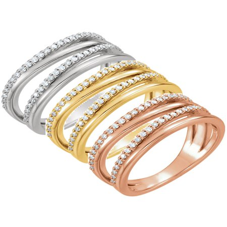 1/4ct Diamond Multirow Ring Available in 14k White, Yellow or Rose