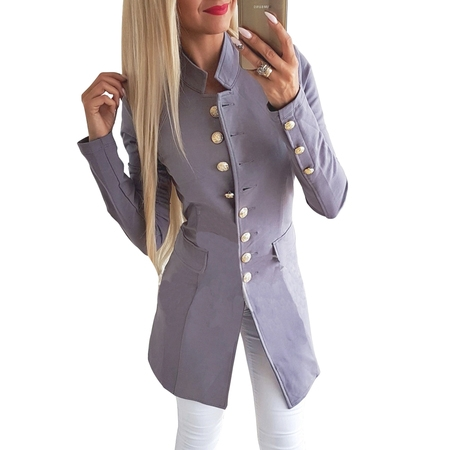 Women Casual Work Office Lapel Pocket Buttons Blazer Suit Jacket Business Coat Long Sleeve Open Front Cardigan Outerwear