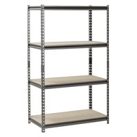 "Muscle Rack 18"" D x 36"" W x 60"" H, 4-Shelf Steel Shelving, Silver-Vein"