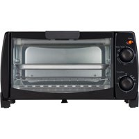 Mainstays 4 Slice Black Toaster Oven with Dishwasher-Safe Rack & Pan, 3 Piece