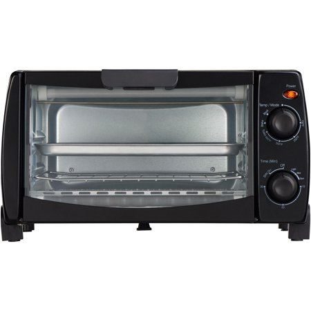 Mainstays 4 Slice Black Toaster Oven with Dishwasher-Safe Rack & Pan, 3 Piece