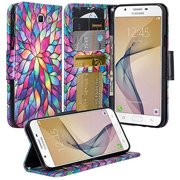 Samsung Galaxy J7 Prime Wallet Case, Wrist Strap Pu Leather Magnetic Flip Fold[Kickstand