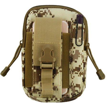 Heavy Duty Sports Waist Pack Pocket Belt for BLU Tank 4.5, Studio Energy, Dash 4.5, Advance 4.5, Micromax Bharat 2 Ultra, NEC Terrain (Desert Camo) + MND Mini Stylus Advanced Sports Accessory Pack